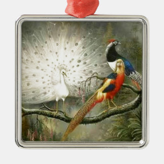Cute White peacock couple pheasant partying Metal Ornament