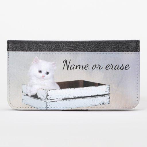 Cute White Persian Kitten iPhone X Wallet Case