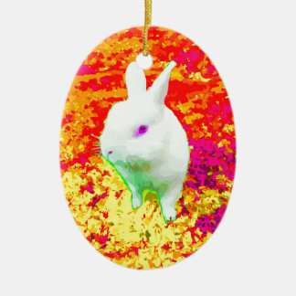 Cute White Pet Rabbit Pink Eyes Ceramic Ornament