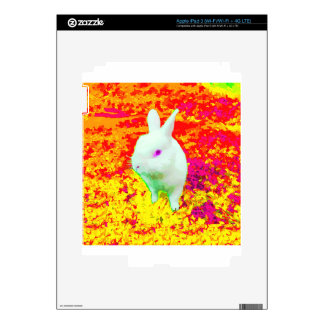 Cute White Pet Rabbit Pink Eyes Decal For iPad 3