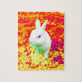 Cute White Pet Rabbit Pink Eyes Jigsaw Puzzle