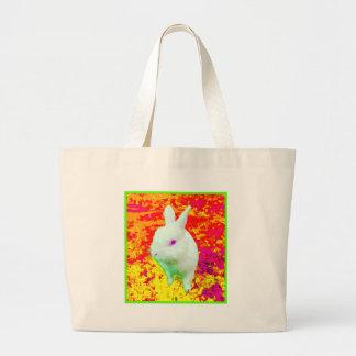 Cute White Pet Rabbit Pink Eyes Large Tote Bag