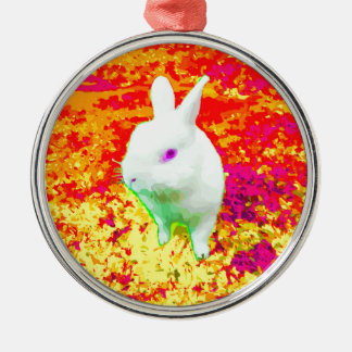 Cute White Pet Rabbit Pink Eyes Metal Ornament