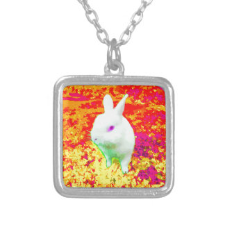 Cute White Pet Rabbit Pink Eyes Silver Plated Necklace