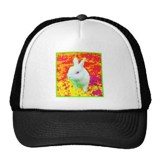 Cute White Pet Rabbit Pink Eyes Trucker Hat