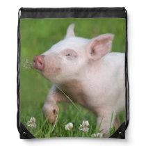 Cute White Piglet Smelling Flower Drawstring Bag