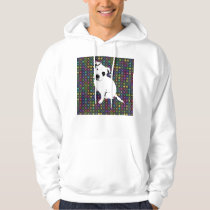 Cute White Pitbull Puppy on Circle Pattern Hoodie
