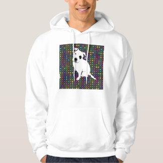 Cute White Pitbull Puppy on Circle Pattern Hoodie