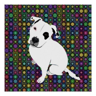 Cute White Pitbull Puppy on Circle Pattern Poster