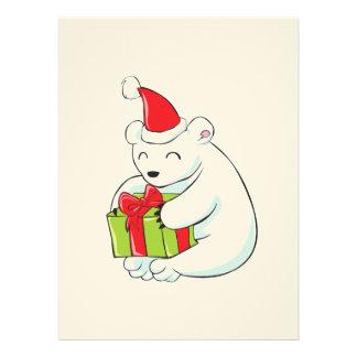 Cute White Polar Bear Invitation Poster Label Card