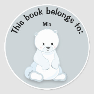 Cute White Polar Bear on Gray Book Name Plate Classic Round Sticker
