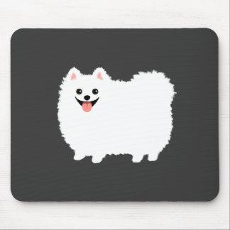 Cute White Pomeranian Cartoon Dog Mouse Pad