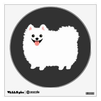 Cute White Pomeranian Cartoon Dog Room Decal