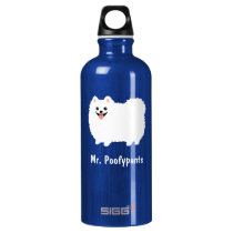 Cute White Pomeranian with Custom Text Aluminum Water Bottle