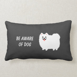 Cute White Pomeranian with Custom Text Pillows