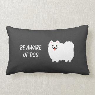 Cute White Pomeranian with Custom Text Throw Pillow