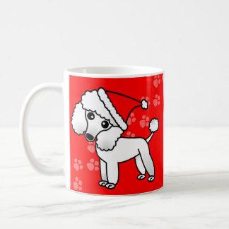 Cute White Poodle Cartoon Santa Hat Classic White Coffee Mug
