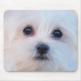 Cute White Puppy Portrait Mouse Pad