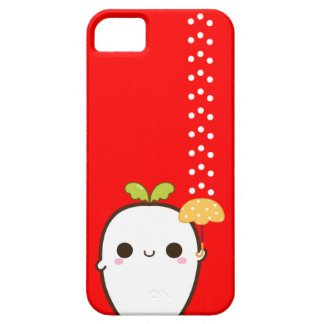 Cute white radish with kawaii umbrella iPhone 5 covers