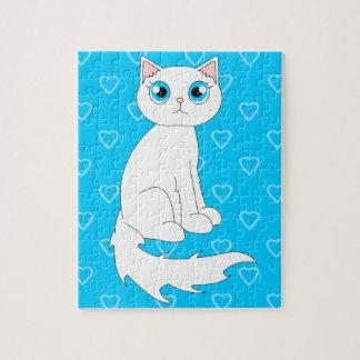 Cute White Ragdoll Cat Cartoon Puzzles