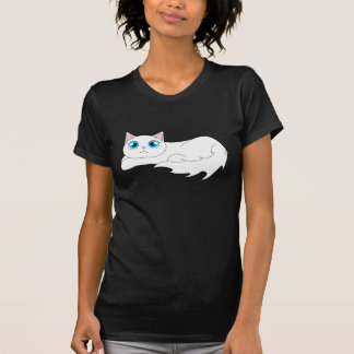 Cute White Ragdoll Cat Cartoon Tee Shirt