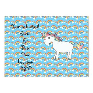 Cute white rainbow unicorn 4.5x6.25 paper invitation card
