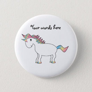 Cute white rainbow unicorn button