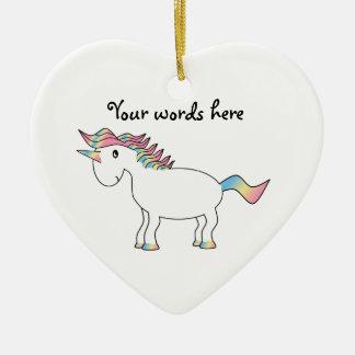 Cute white rainbow unicorn ceramic ornament