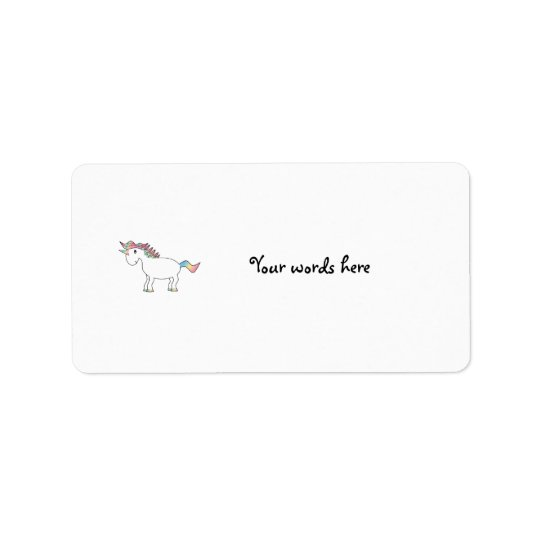 Cute white rainbow unicorn label
