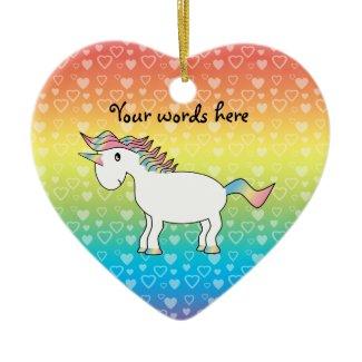 Cute white rainbow unicorn on rainbow hearts