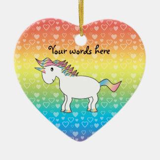 Cute white rainbow unicorn on rainbow hearts ceramic ornament