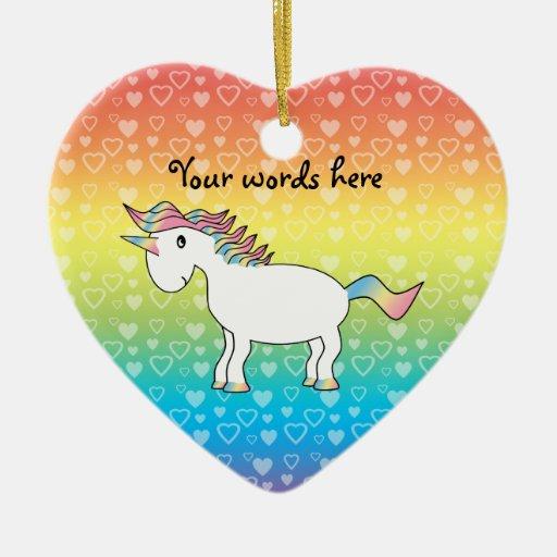 Cute white rainbow unicorn on rainbow hearts Double-Sided heart ceramic christmas ornament