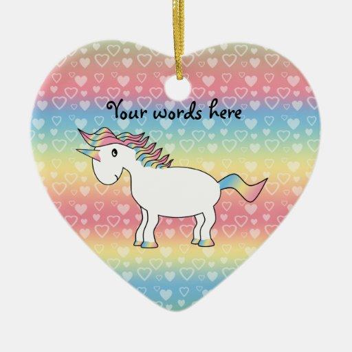 Cute white rainbow unicorn christmas tree ornaments