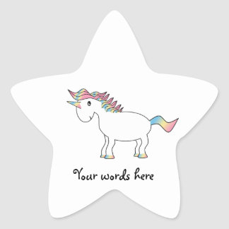 Cute white rainbow unicorn sticker