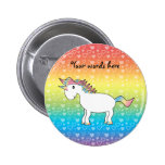 Cute white rainbow unicorn with rainbow hearts pinback buttons