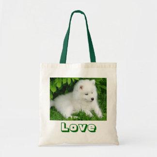 Cute White Samoyed Puppy Dog Canvas Tote Bag