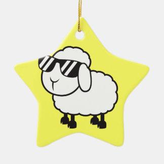 Cute White Sheep Cartoon Ceramic Ornament