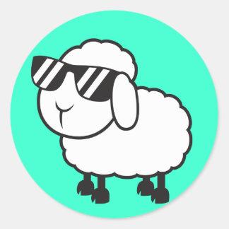 Cute White Sheep Cartoon Classic Round Sticker