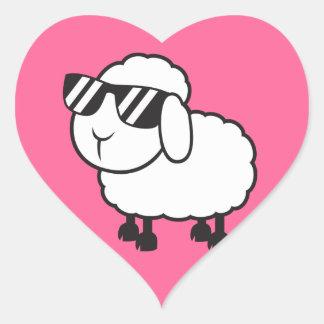 Cute White Sheep Cartoon Heart Sticker