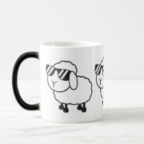Cute White Sheep Cartoon Magic Mug