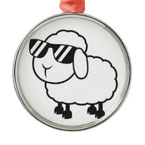 Cute White Sheep Cartoon Metal Ornament