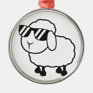 Cute White Sheep Cartoon Metal Ornament