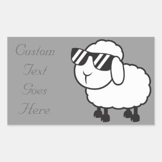 Cute White Sheep Cartoon Rectangular Sticker