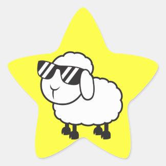 Cute White Sheep Cartoon Star Sticker