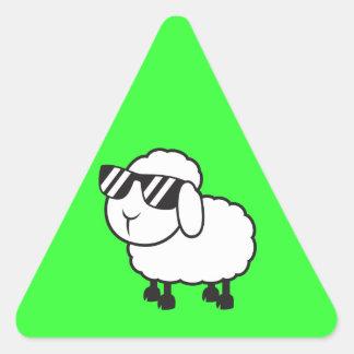 Cute White Sheep Cartoon Triangle Sticker