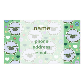 Cute White Sheep Green Pattern Double-Sided Standard Business Cards (Pack Of 100)