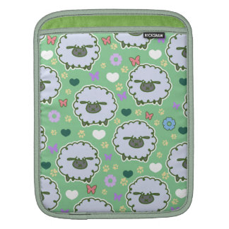 Cute White Sheep Green Pattern Sleeve For iPads