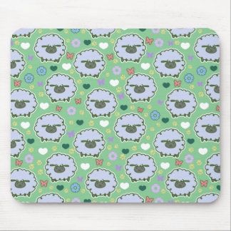 Cute White Sheep Green Pattern Mouse Pad