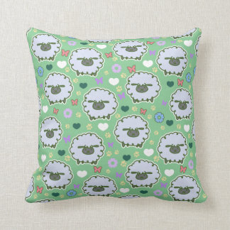 Cute White Sheep Green Pattern Throw Pillows