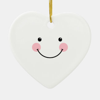 Cute White Smiling Face Heart Ornament